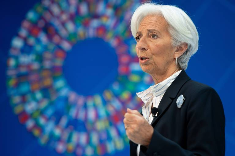 Lagarde discursa durante o FMI - Banco Mundial Spring Meetings em Washington