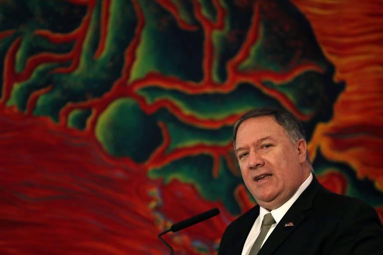 O secretário de estado dos EUA, Mike Pompeo, discursa durante reunião em Buenos Aires