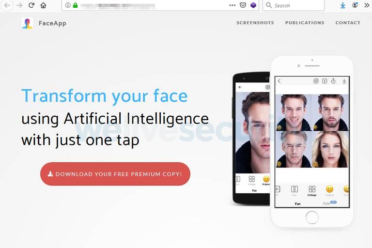 """Site diz, em inglês, """"Transforme seu rosto usando inteligência artificial com só um toque"""" e exibe celulares com o FaceApp na tela. Logo abaixo, botão para fazer download do suposto app"""