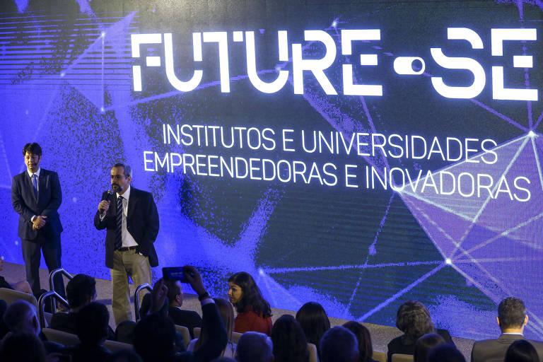 O ministro da Educação, Abraham Weintraub, e o secretário de Educação Superior do MEC, Arnaldo Lima, apresentam o programa Future-se