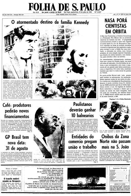 Primeira página da Folha de S.Paulo de 23 de julho de 1969