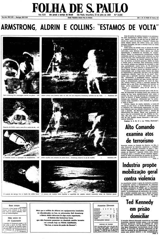 Primeira página da Folha de S.Paulo de 22 de julho de 1969