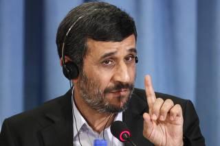 File photo of Iran's President Ahmadinejad gesturing in New York