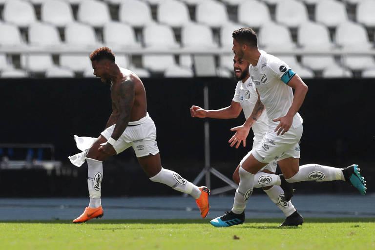 Marinho celebra o gol que garantiu a vitória do Santos sobre o Botafogo na 11ª rodada do Campeonato Brasileiro