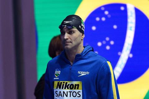 Brazil's Nicholas Santos reacts ahead of the semi-final of the men's 50m butterfly event during the swimming competition at the 2019 World Championships at Nambu University Municipal Aquatics Center in Gwangju, South Korea, on July 21, 2019. (Photo by Oli SCARFF / AFP)