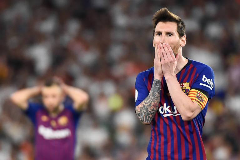 Lionel Messi em partida pelo Barcelona