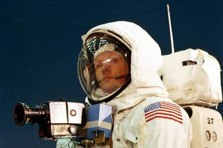 Handout photo of Apollo 11 astronaut Neil Armstrong wearing a mounted camera