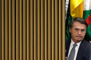 Brazil's President Jair Bolsonaro attends a National Soccer Day Ceremony in Brasilia