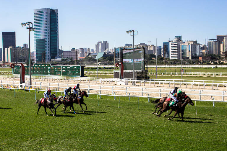 Corrida de cavalos no Jockey Club de São Paulo, com cinco cavalos correndo sobre grama verde e, ao fundo, prédios