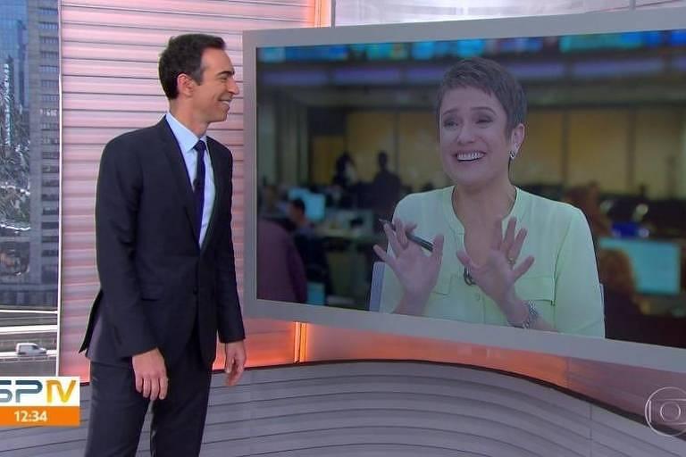 César Tralli em conversa animada com Sandra Annemberg