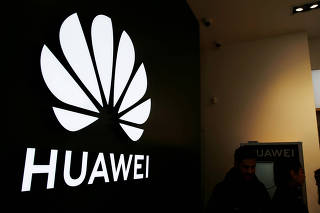 A Huawei signage is pictured at their store at Vina del Mar