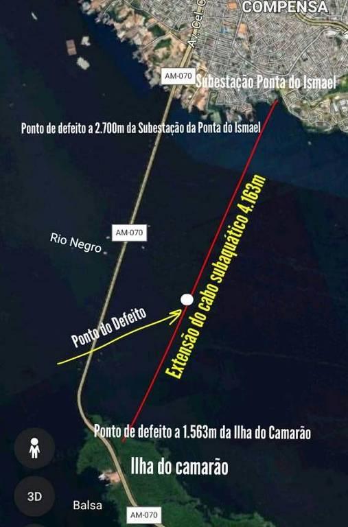 Mapa de rompimento de cabos foi em trecho de rio Negro, em Manaus