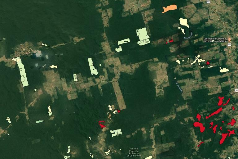 Exemplos de evolução dos alertas do Deter, em 2019, em áreas próximas ao rio Jamanxim e Novo Progresso, no Pará; as áreas destacadas em verde correspondem a desmatamento de corte raso; as em laranja, corte seletivo desordenado; as em amarelo claro, degradação; e as em vermelho, cicatriz de queimada