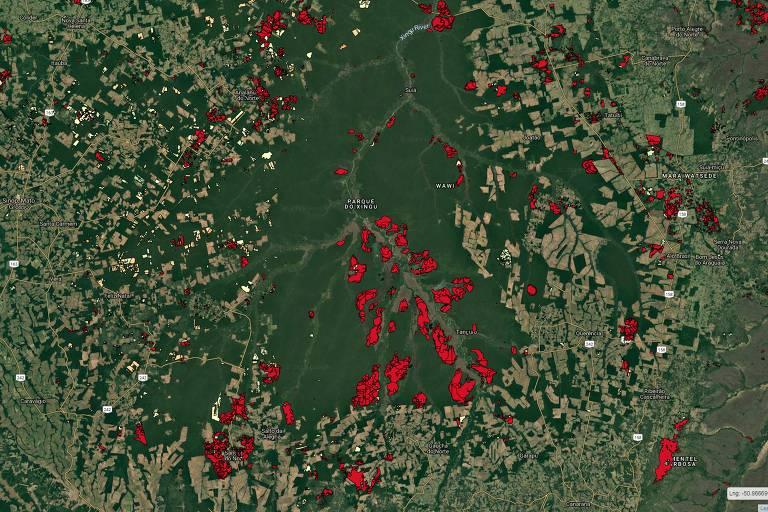A origem das imagens: O Inpe usa imagens de satélite para verificar as áreas com mudança da cobertura de vegetação  Na imagem, Deter destaca em vermelho áreas com cicatrizes de queimadas