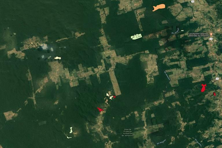 Exemplos de evolução dos alertas do Deter, em 2016, em áreas próximas ao rio Jamanxim e Novo Progresso, no Pará