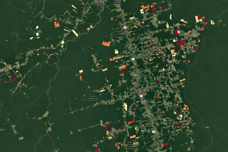 Comparação: Para saber se houve desmatamento, o sistema compara as imagens novas com as anteriores; Na imagem, área ao redor de Flona (Floresta Nacional) do Jamanxim em 2018, com áreas coloridas mostrando o desmatamento agregado ao longo dos anos