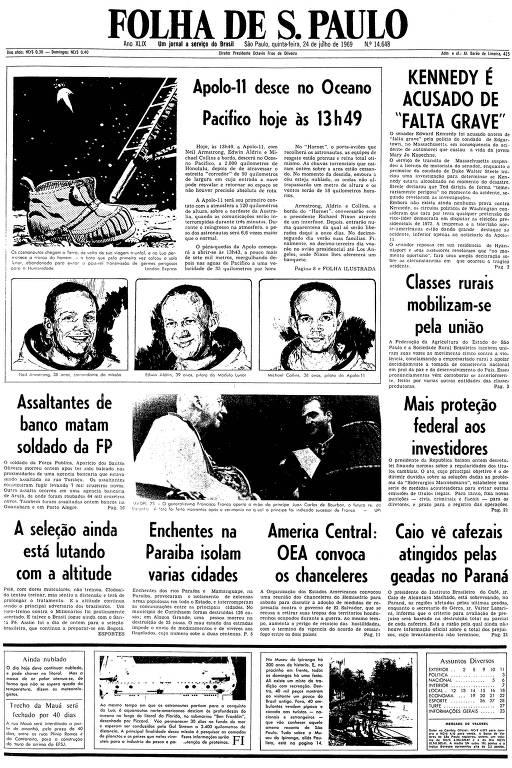 Primeira página da Folha de S.Paulo de 24 de julho de 1969