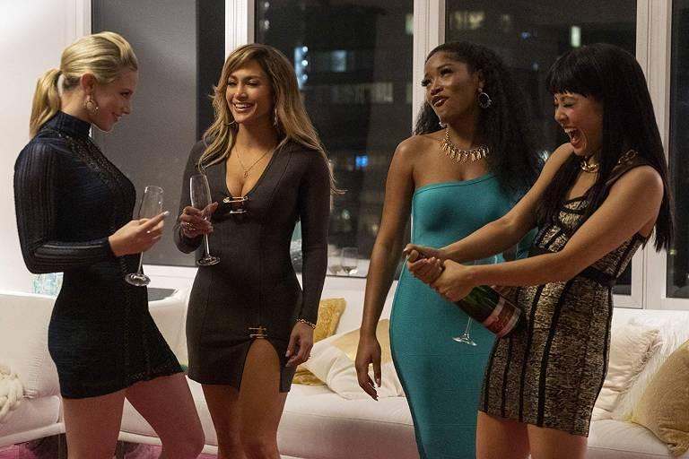 Lili Reinhart, Jennifer Lopez, Keke Palmer e Constance Wu em cena de 'As Trapaceiras