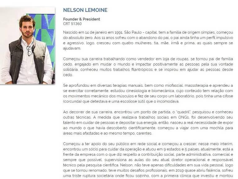Biografia de Nelson Lemoine no site de sua clínica, onde consta um CRT que não existe