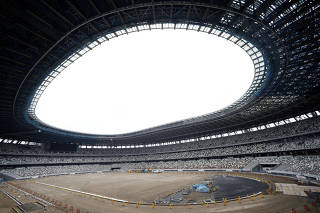 The New National Stadium, the main stadium of Tokyo 2020 Olympics and Paralympics, is seen under construction in Tokyo, Japan