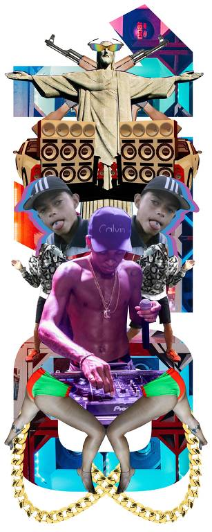 Montagem com elementos do funk carioca, incluindo o DJ Rennan da Penha