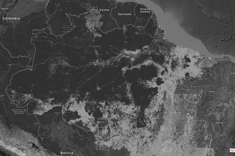 Site do Inpe com visualização sobre desmatamento