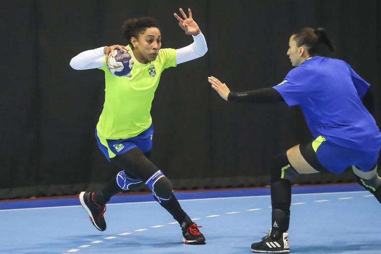 Ana Paula Rodrigues, atleta brasileira da seleção de handebol que disputa os jogos Pan-Americanos de Lima, no Peru