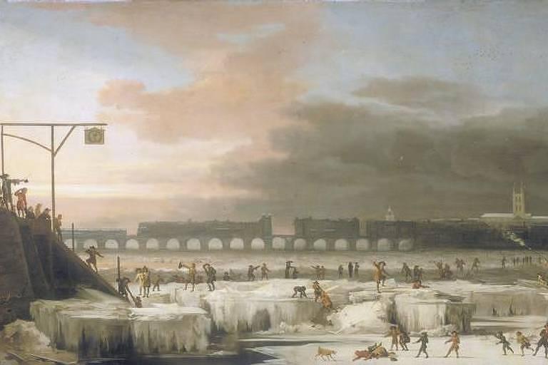 Rio Tâmisa congelado na Inglaterra em 1677