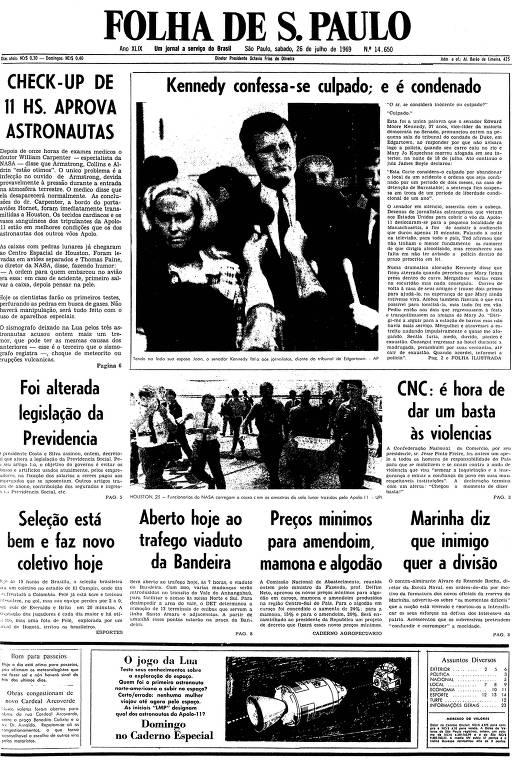 Primeira página da Folha de S.Paulo de 26 de julho de 1969