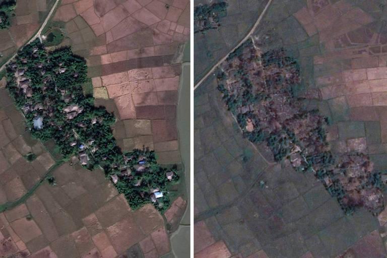 A aldeia de Maw em Mianmar, em 2017 (à esq.) e em 2018 (à dir.)