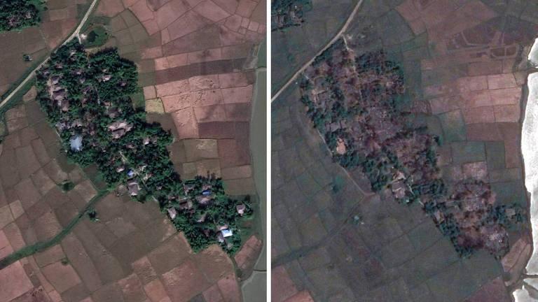 À esquerda, a aldeia rohingya de Maw em 2017, antes da campanha contra a minoria; à direita, imagem de 2018 mostra casas destruídas e área desocupada