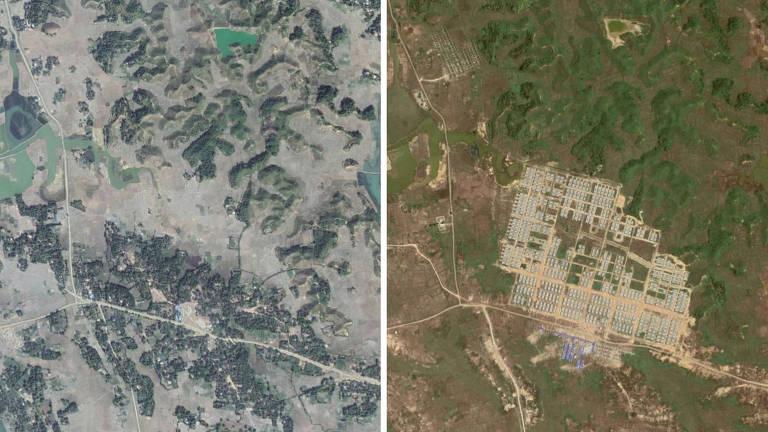 À esquerda, o vilarejo Hla Pho Khaung; à direita, foto de 2019 mostra a construção de um campo no local, onde os refugiados rohingyas seriam acolhidos