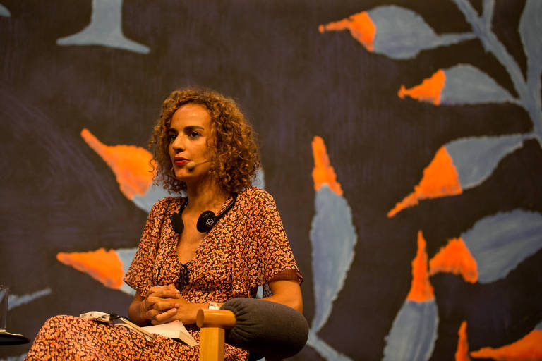 A escritora Leila Slimani durante a Flip (Festa Literária de Paraty) de 2018
