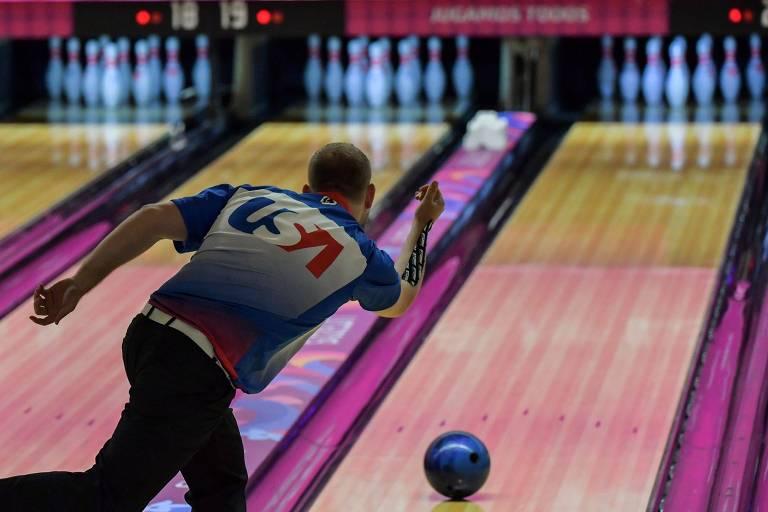 Nicolas Pate, dos Estados Unidos, em ação durante os Jogos Pan-Americanos de Lima, no Peru
