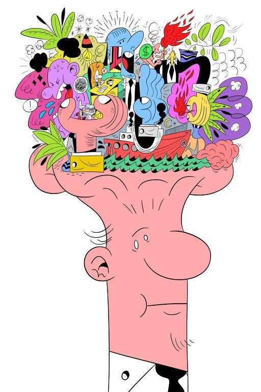 homem com muitas coisas saindo da cabeça