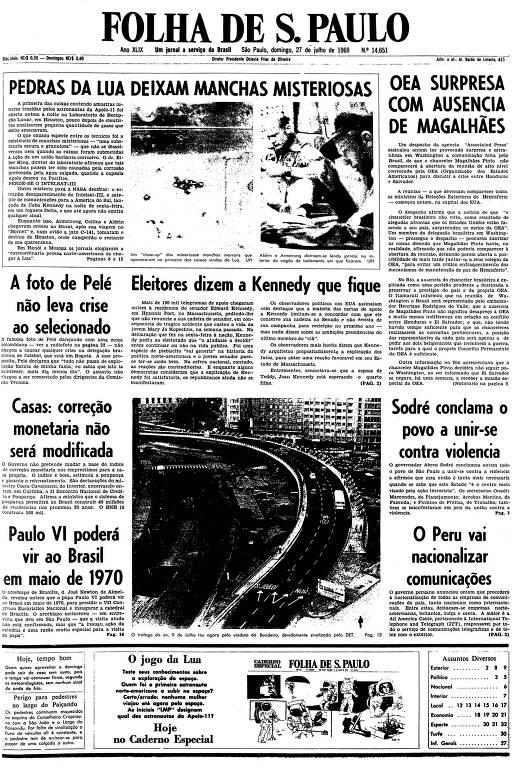 Primeira página da Folha de S.Paulo de 27 de julho de 1969