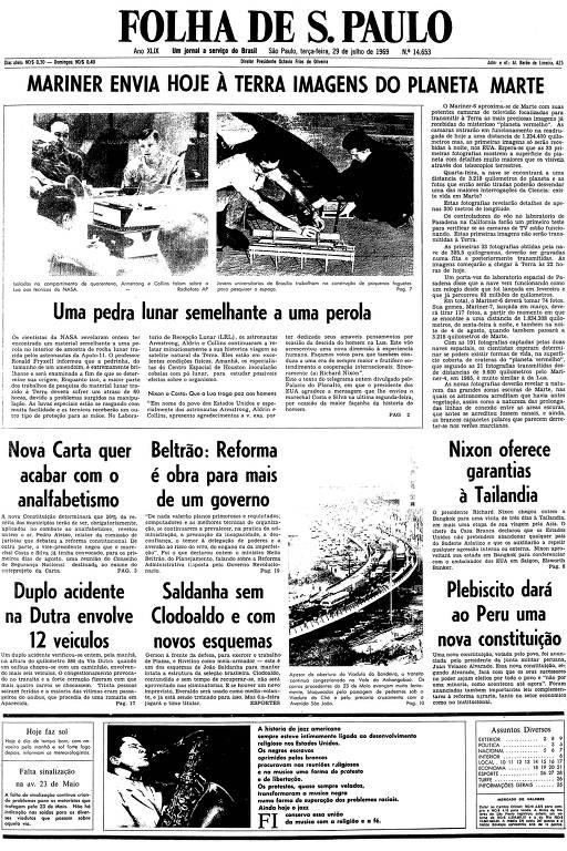 Primeira página da Folha de S.Paulo de 29 de julho de 1969