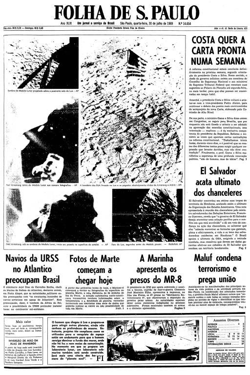 Primeira página da Folha de S.Paulo de 30 de julho de 1969