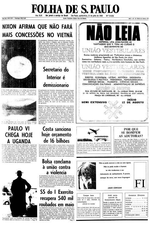 Primeira página da Folha de S.Paulo de 31 de julho de 1969