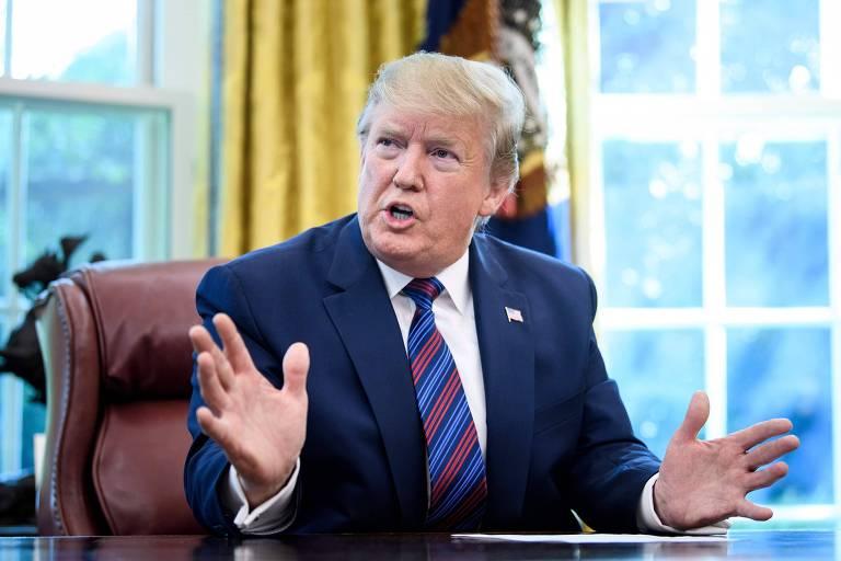 O presidente americano, Donald Trump, discursa no Salão Oval após anunciar acordo de migração com a Guatemala