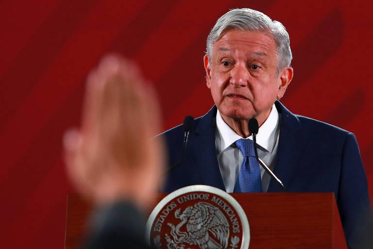 O presidente do México, Andrés Manuel López Obrador, durante coletiva de imprensa