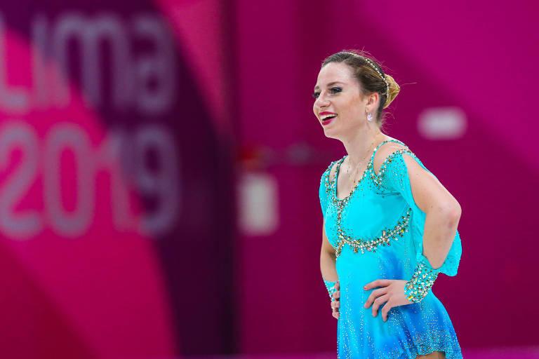 Bruna Wurts, ouro na patinação artística feminina nos Jogos Pan-Americanos Lima 2019, após sua apresentação