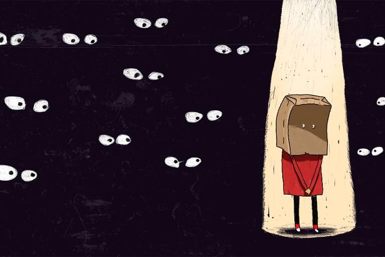 ilustração de personagem iluminada por facho de luz e que usa um saco de papel na cabeça. ao fundo, olhos em meio à escuridão fitam o personagem.