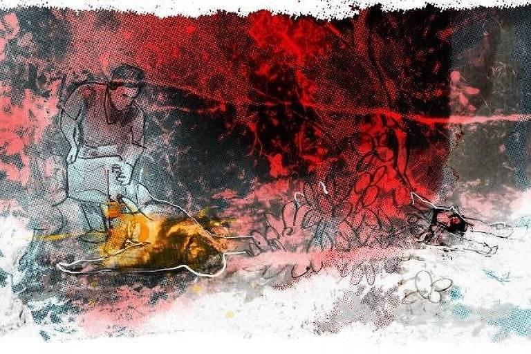 ilustração demonstra homem despejando líquido de um galão sobre um cadáver em chamas. À direita, outro cadáver ensanguentado.