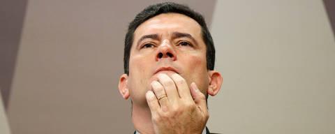 Brazil's Justice Minister Sergio Moro attends a commission of Constitution and Justice in the Brazilian Federal Senate in Brasilia, Brazil June 19, 2019. REUTERS/Adriano Machado ORG XMIT: AHM03