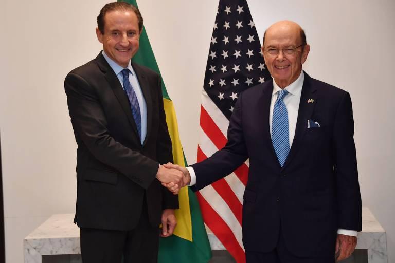 Presidente da Fiesp, Paulo Skaf, e secretário do Comércio dos Estados Unidos, Wilbur Ross, em encontro em São Paulo