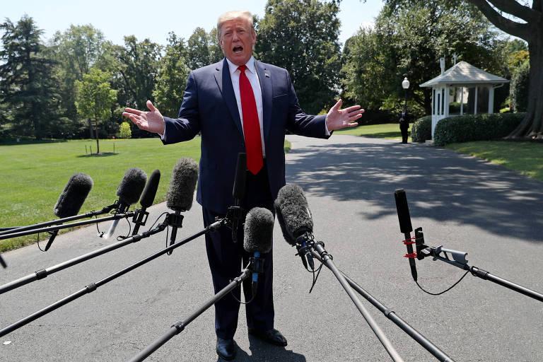 O presidente Donald Trump durante entrevista coletiva nesta terça em Washington