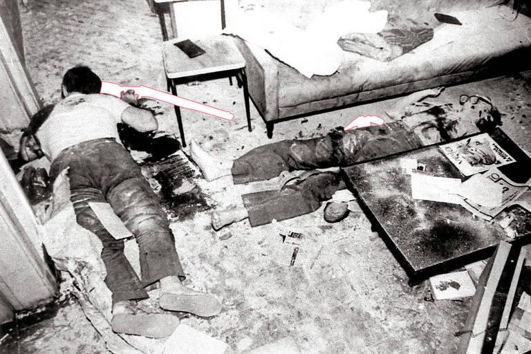 Foto com com indicações das armas