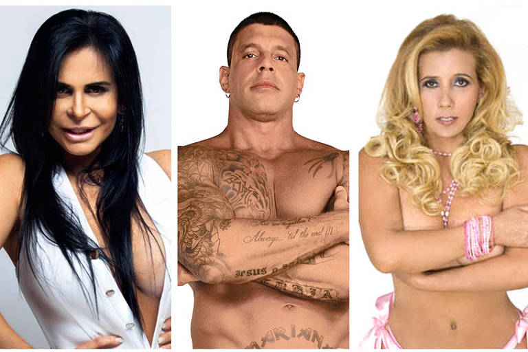Da esq. para dir., Gretchen, Alexandre Frota e Rita Cadillac