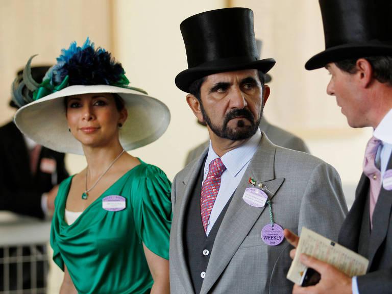 A princesa Haya e seu marido, o emir Mohammed bin Rashid al-Maktoum, participam do terceiro dia da tradicional corrida de cavalos Royal Ascot, em 2010